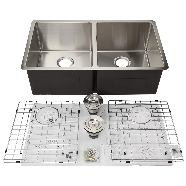 33 Inch Kitchen Undermount 304 Stainless Steel 50 50 Handmade Double Bowl Sink 16 Gauge 10 Inch Deep