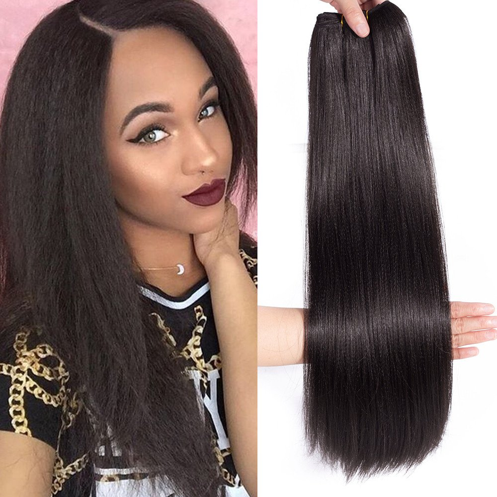 Amazon Kinky Straight Yaki 4 Pieces Hair Extensions Weave
