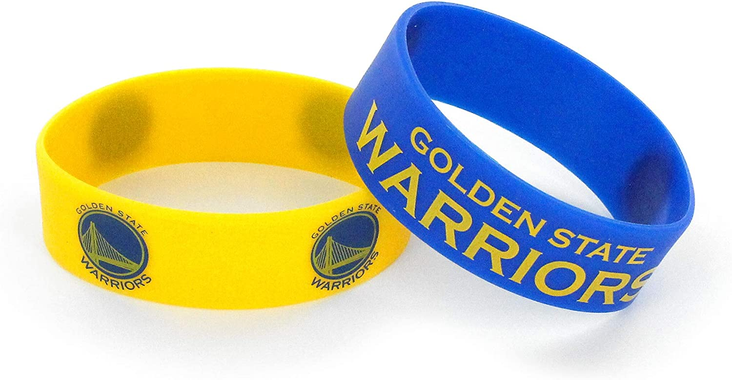 aminco NBA Golden State Warriors Silicone Rubber Bracelet Wristbands 2-Pack
