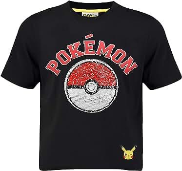 Pokèmon Camiseta Pikachu | Camiseta Lentejuelas Reversibles para Niños | Top De Algodón Negro con Motivo De Lentejuelas Inversas (3/4 años): Amazon.es: Ropa y accesorios