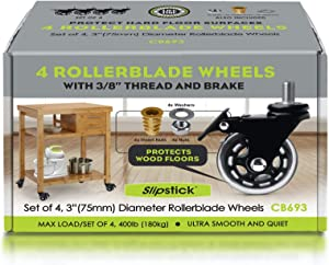 """Slipstick CB693 Premium 3 Inch Rubber Caster Wheels with Brake (4 Pack) Replacement Rollerblade Style Swivel Casters with 3/8""""– 16x1"""" Threaded Stem, Includes Mounting Hardware, Black / Clear Castor"""