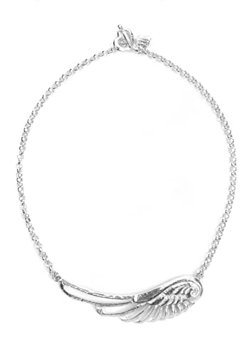 6b701f0bd95 Dower & Hall Angel - Solid Sterling Silver Large Filigree Angel Wing  Belcher Chain 41cm Necklace: Amazon.co.uk: Jewellery