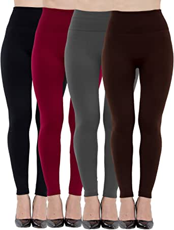 Dimore 4 Pack Fleece Lined Leggings for Women Soft High Waist Slimming Winter Warm Leggings Workout & Everyday Use