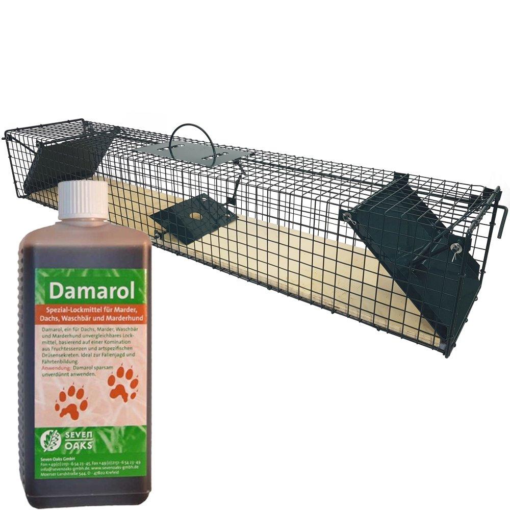 Piège à animaux vivants avec plaque en bois 100 x 19 x 16 cm 2 entrées + 50 ml attractif Damarol - Piège en fil de fer avec revêtement par poudre et plaque en métal anti-mosures - Prêt à son usage inm&e
