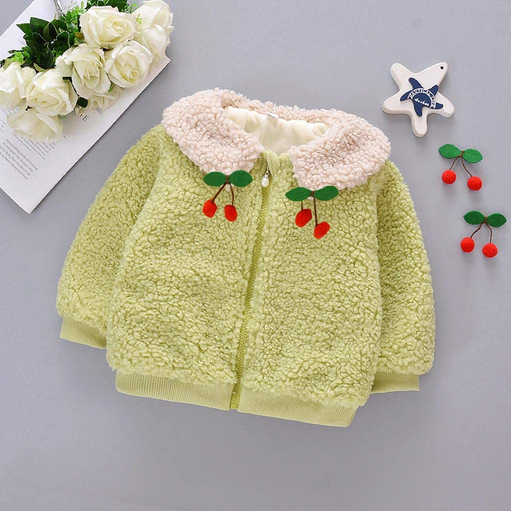 Baby Girls Warm Coats Urbling Toddler Solid Long Sleeves Cherry Print Plush Lapel Zipper Thick Windproof Jackets for 3M-2T