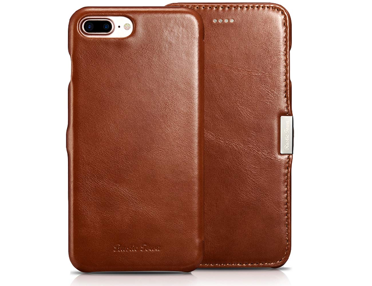 best service c9246 61638 iPhone 8 Plus Leather Case - Genuine Leather iPhone 7 Plus Folding Flip  Case and Flap Closure - Protective Cover for Apple iPhone 8 Plus (2017) /  ...