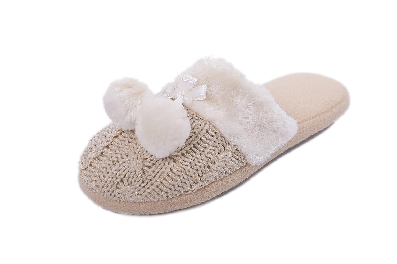 Zapatillas de casa para Mujer Pantuflas Mujer Invierno casa con Bordes del Tejido de Punto y Pompons Airee Fairee