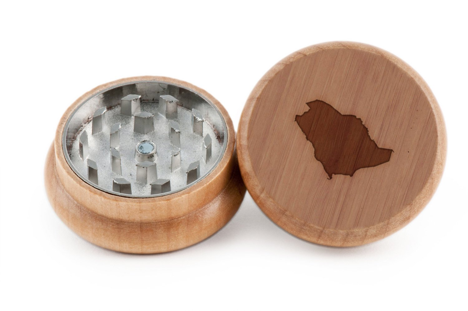 GRINDCANDY Spice And Herb Grinder - Laser Etched Saudi Arabia Design - Manual Oak Pepper Grinder
