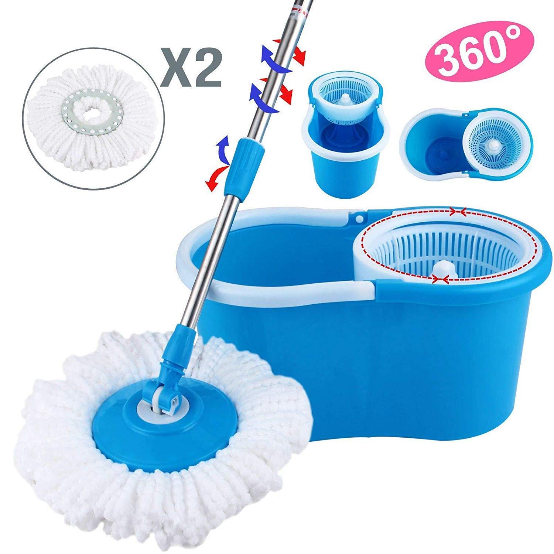 PrimeTrendz 360° Easy Clean Floor Mop Bucket 2 Heads Microfiber Spin Rotating Head Blue by PrimeTrendz