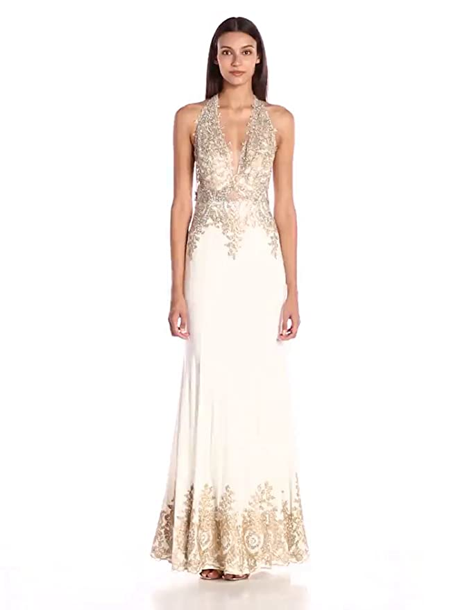 43420f0345ca JVN by Jovani Women's Embellished White and Gold Fitted Dress at Amazon  Women's Clothing store:
