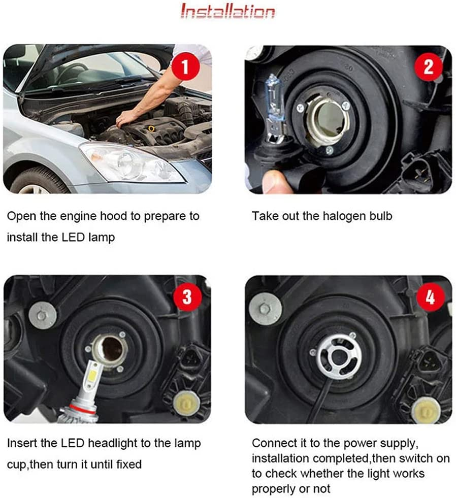 CarThree H11 Led Headlight Bulb 36Wx2 8000LM H11 Led with 2 Pcs of H11 Led Fog Lights 6000k Cob Led Chip H11 Led Bulb H8 Led Fog Light Bulb for Car SANCHE