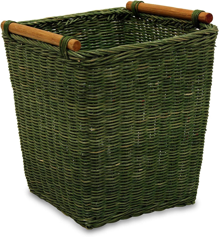 MIMBRE NATURAL Papelera Verde (23 × 23 × 26)