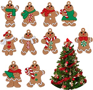 NY Gingerbread Ornaments Christmas Tree Decor 10 Pieces Gingerbread Man Doll Hanging Ornaments Set for The Home Indoor Outdoor Personalized Holiday Christmas Theme Party Hanging Decorations Supplies