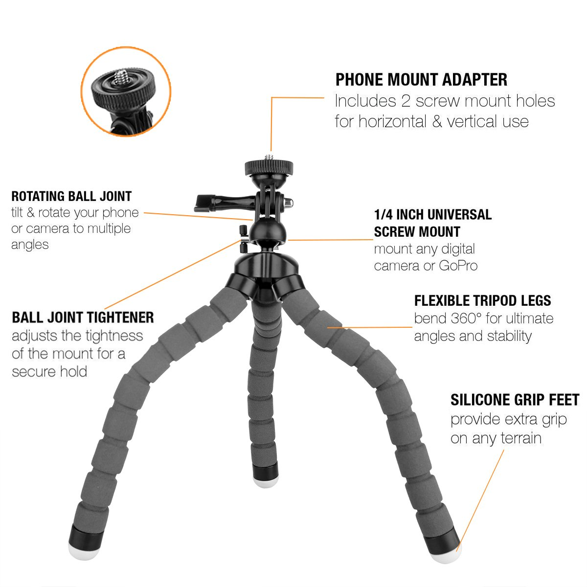 Kamisafe KT-600S Mini Flexible Tripod Lightweight Adjustable Octopus Tripod Legs Selfie Stick Stand with Universal Phone Clip Holder for iPhone Cellphones Gopro Mini DSLR Cameras (Grey)