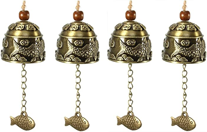Fish Fengshui Hanging Bell Good Luck Fortune Blessing Wind Chime Garden Home