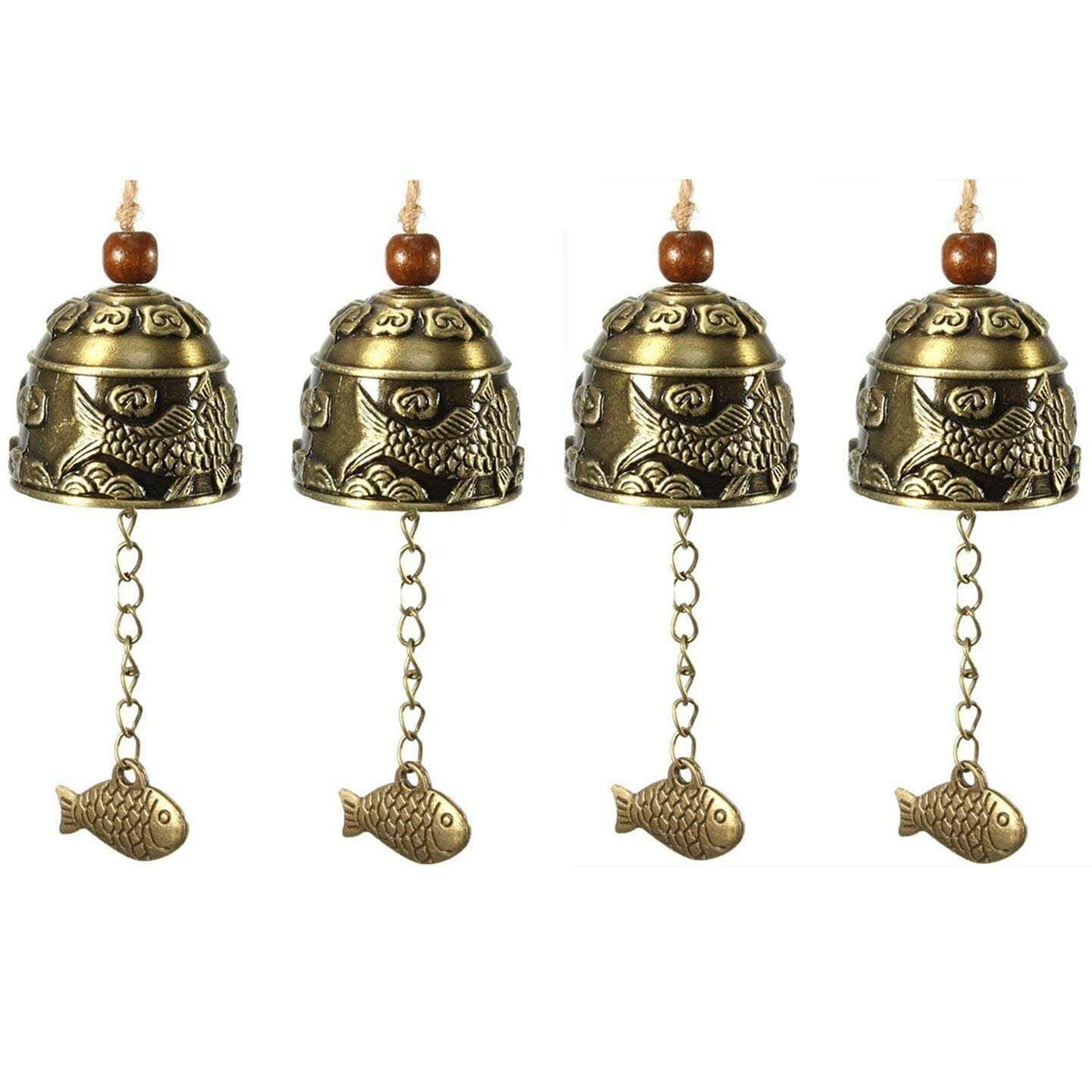 SWTOOL Selling Wonderful 4PCS Chinese Traditional Feng Shui Wind Chime - Vintage Style Fish Feng Shui Bell For Good Luck Blessing Fortune Home Car Crafts Hanging Decoration Gift