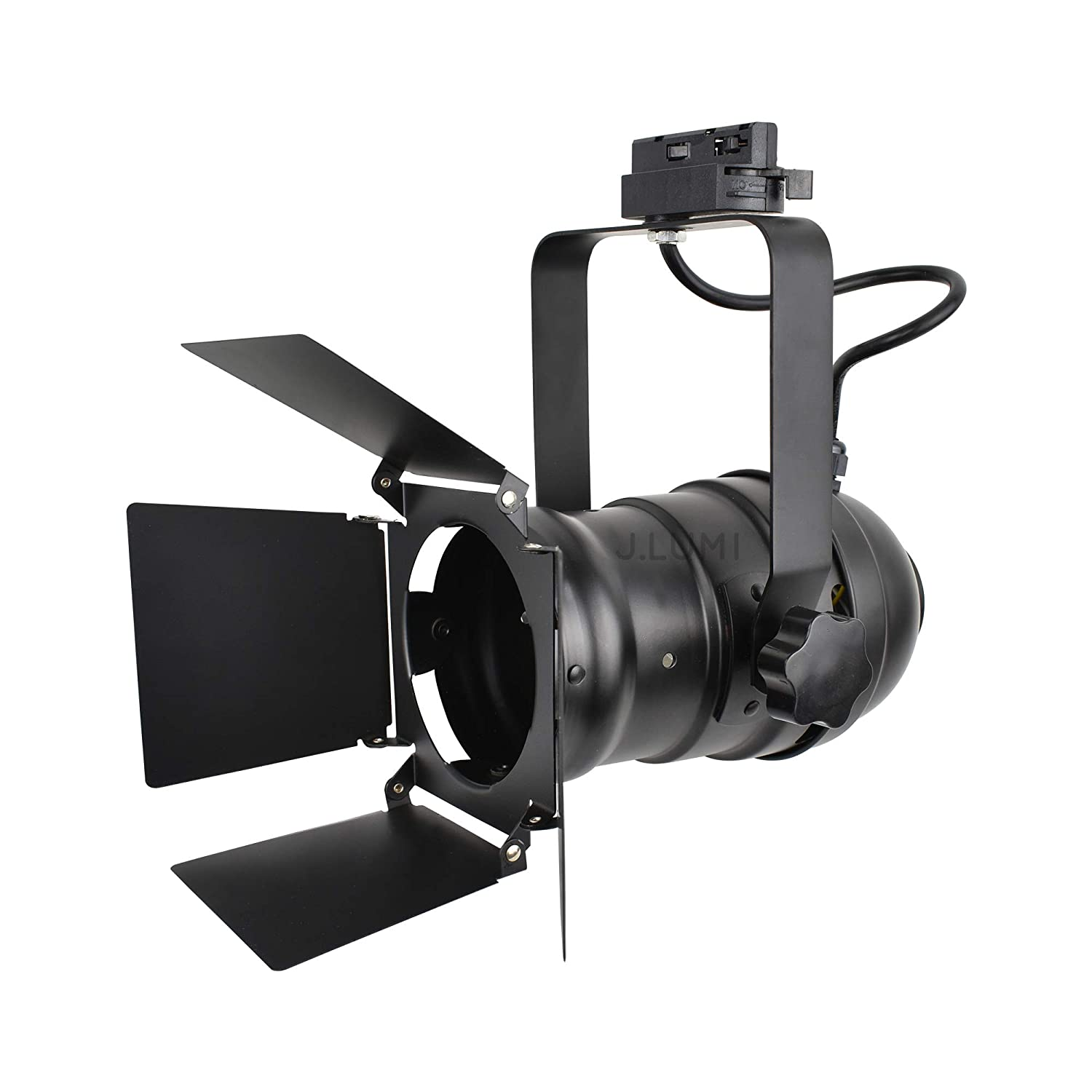 J.LUMI TRK9000 Theater Track Lighting Head, Stage Light with Barn Door Flippers, Black Frost Paint Finish, Vintage Modern Industrial, Uses PAR30, A19 or ST64 Bulb with E26 Base (Bulb not Included)