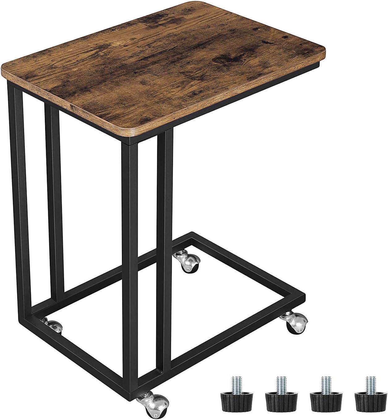 VASAGLE Mesa Auxiliar con Ruedas para sofá Mesa Lateral Café Comidas Ordenador iPad Estructura de Metal Estilo Retro LNT50X
