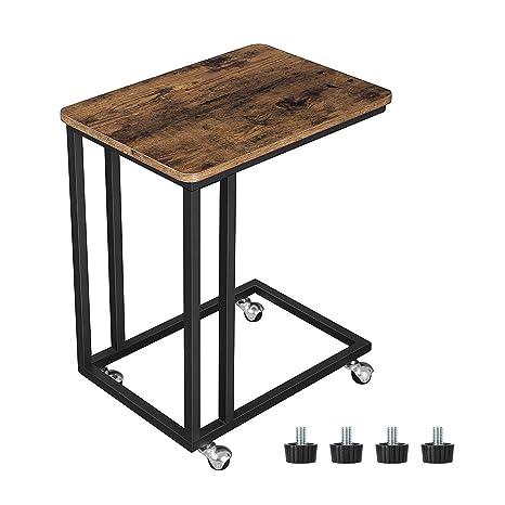 VASAGLE Tavolino da Letto con Ruote Industriale, Tavolino Mobile da  Salotto, Comodino, Carrello, Soggiorno Camera da Letto, Struttura in Ferro,  ...