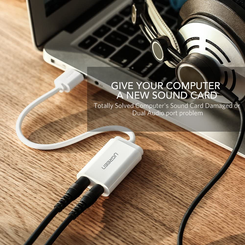 Amazon.com: UGREEN Adaptador de audio USB, con tarjeta de ...