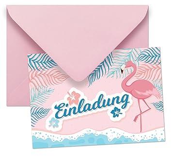 10 Einladungen Mit Umschlägen Mit Motiv Flamingo Ohne Text / Einladungskarten  Kindergeburtstag Ohne Innentext Passt Zu