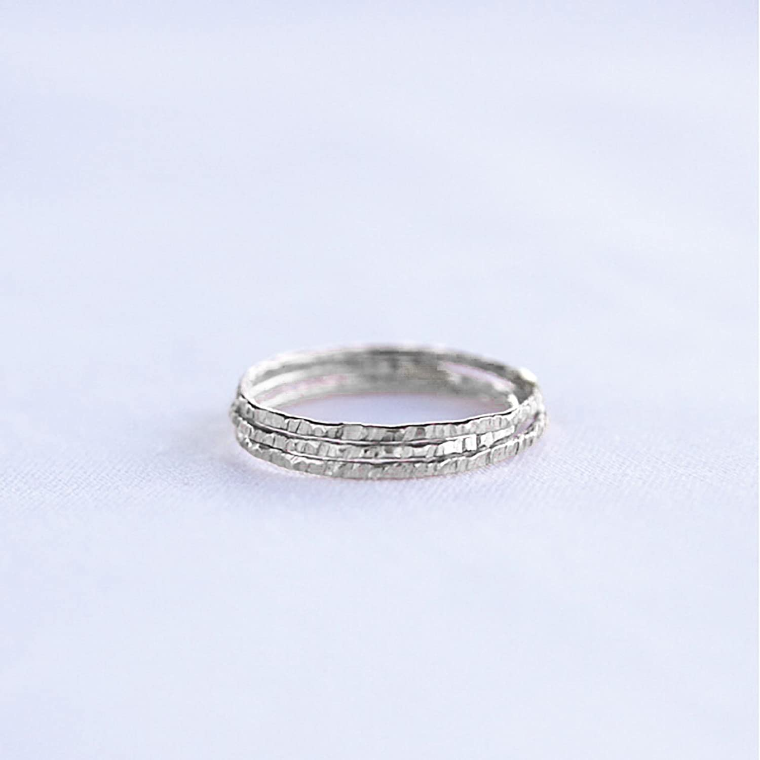 Handmade Hammered Sterling Silver Simple Stacking Ring