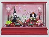 京寿 雛人形 親王飾り ケース飾り 間口38×奥行28×高さ27cm 親王ケース飾り YN1204HC 赤 ケース入り 桃の節句 ひな人形