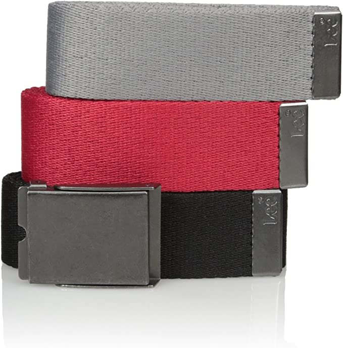 Men/'s Classic Silver Flip Top Military Buckle with Canvas Web Belt