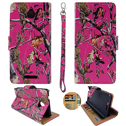 HD Quality For HTC Desire 510 Leather Camo Pink Pinetree Flip ID Wallet Sprint Cricket Virgin Mobile Boost Case Cover Hard Snap On Cases