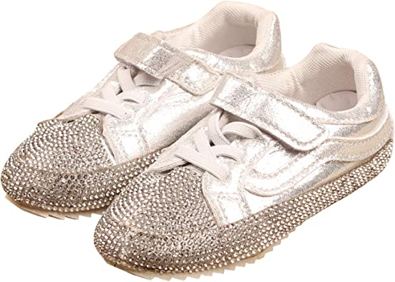 lakiolins Girls Shiny Beads Sparkly Slip On Sneakers Lace-up Walking Costume Flat Shoes