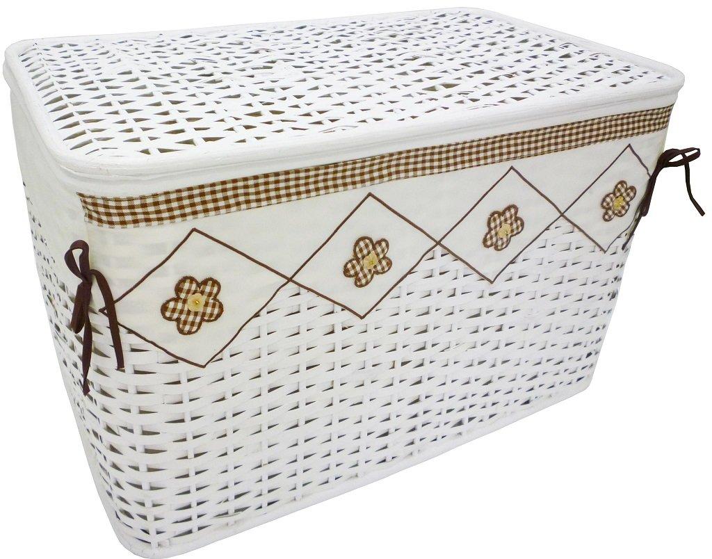 Baule in vimini e rattan portabiancheria 66x40h43 bianco foderato con decoro fiori contenitore scatola porta tutto giochi vestiti per casa camera salotto Savino Fiorenzo