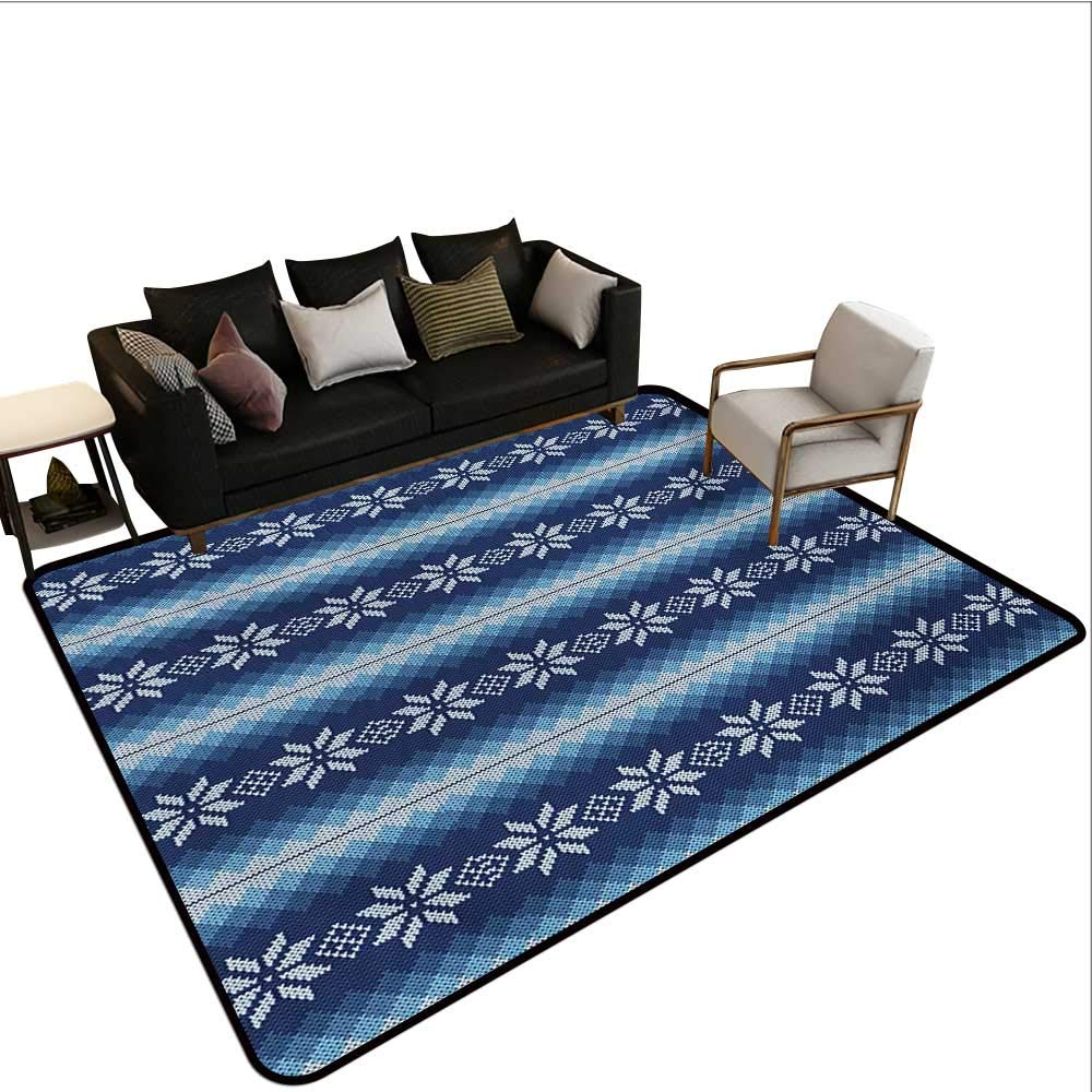 Indoor Floor mat,Traditional Scandinavian Needlework Inspired Pattern Jacquard Flakes Knitting Theme 6'x9',Can be Used for Floor Decoration by BarronTextile (Image #1)