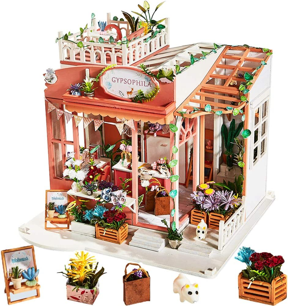 DIY Dollhouse Miniature with Wooden Furniture Kit,Handmade Mini Home Craft Model Plus with Cover & Music Box,1:24 Scale Creative Doll House Toys for Teens Adult Gift (Gypsophila Folower Shop)