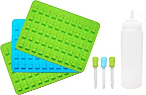 ONEHOME Gummy Bear Silicone Molds - 3 Pack Trays with 16oz Easy Fill Bottle and 3 Droppers - BPA Free, Food Grade Silicone - Jello, Candy, Chocolate, Gelatin Molds