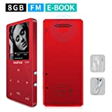 MYMAHDI MP3/MP4 Music Player,8GB(Expandable Up to 128GB) Portable Audio Player with Photo Viewer, Voice Recorder, FM Radio, A-B Playback, E-Book,Build-in Speaker with Headphone,Red