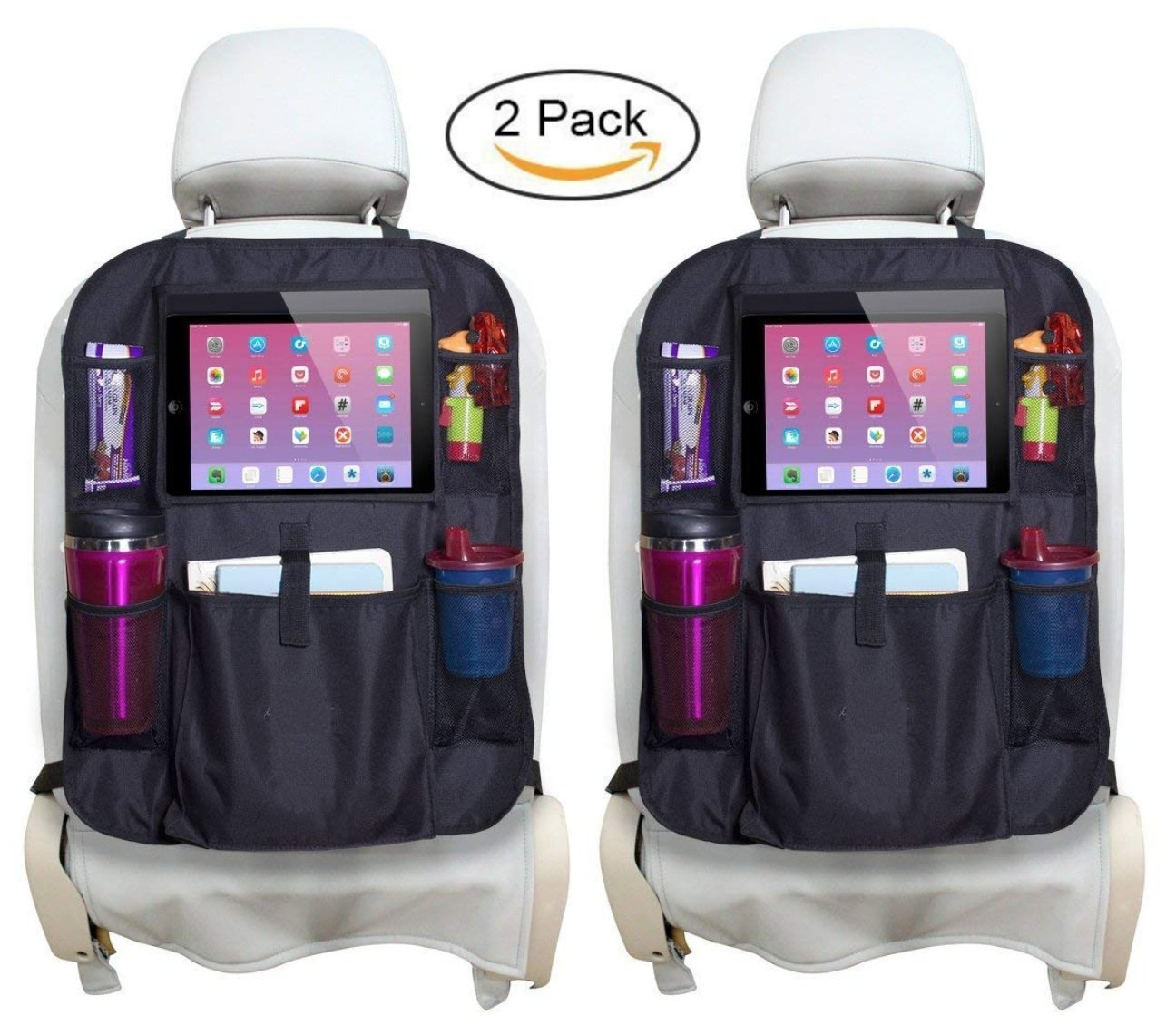 2pcs Car Seat Protector and Kick Mat with Multi-use Pockets for Bottles Essential Universal Fit Travel Accessory. Snacks etc Akeekah Back Seat Car Organiser with 10.1 iPad//Tablet Holder Toys