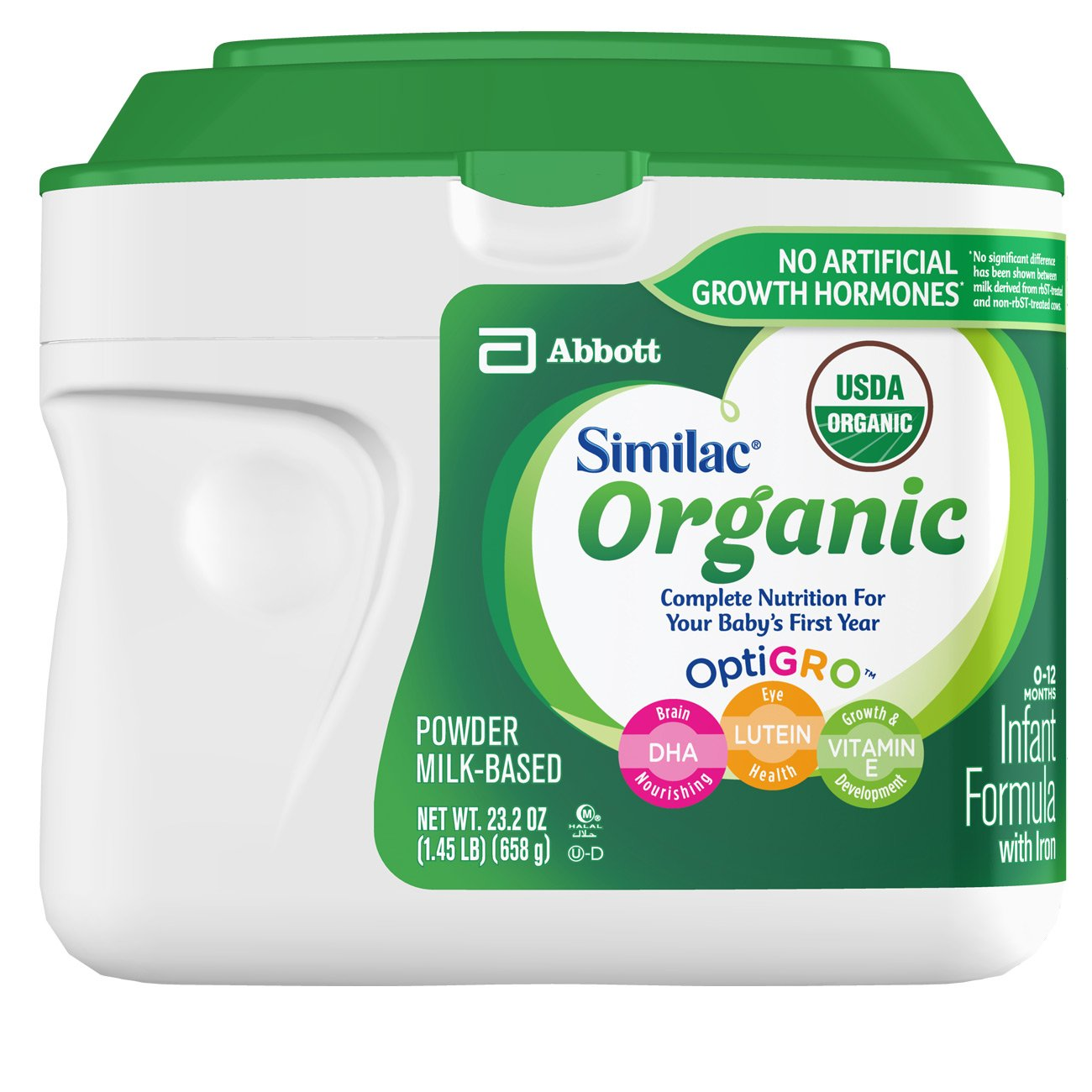 Similac Organic Non-GMO Infant Formula, Powder, Baby Formula, 23.2 ounces, 6 Count, (1-Month Supply) by Similac