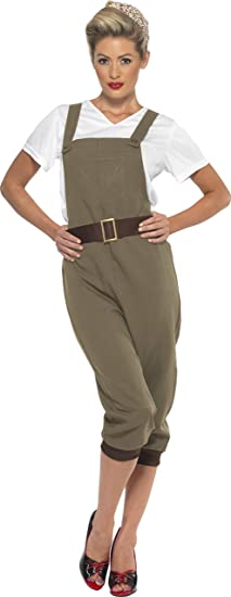 Vintage Overalls 1910s -1950s Pictures and History Smiffys Womens WW2 Land Girl Costume Top Dungarees and Headscarf Size: 12-14 Colour: Green 44438 £28.22 AT vintagedancer.com