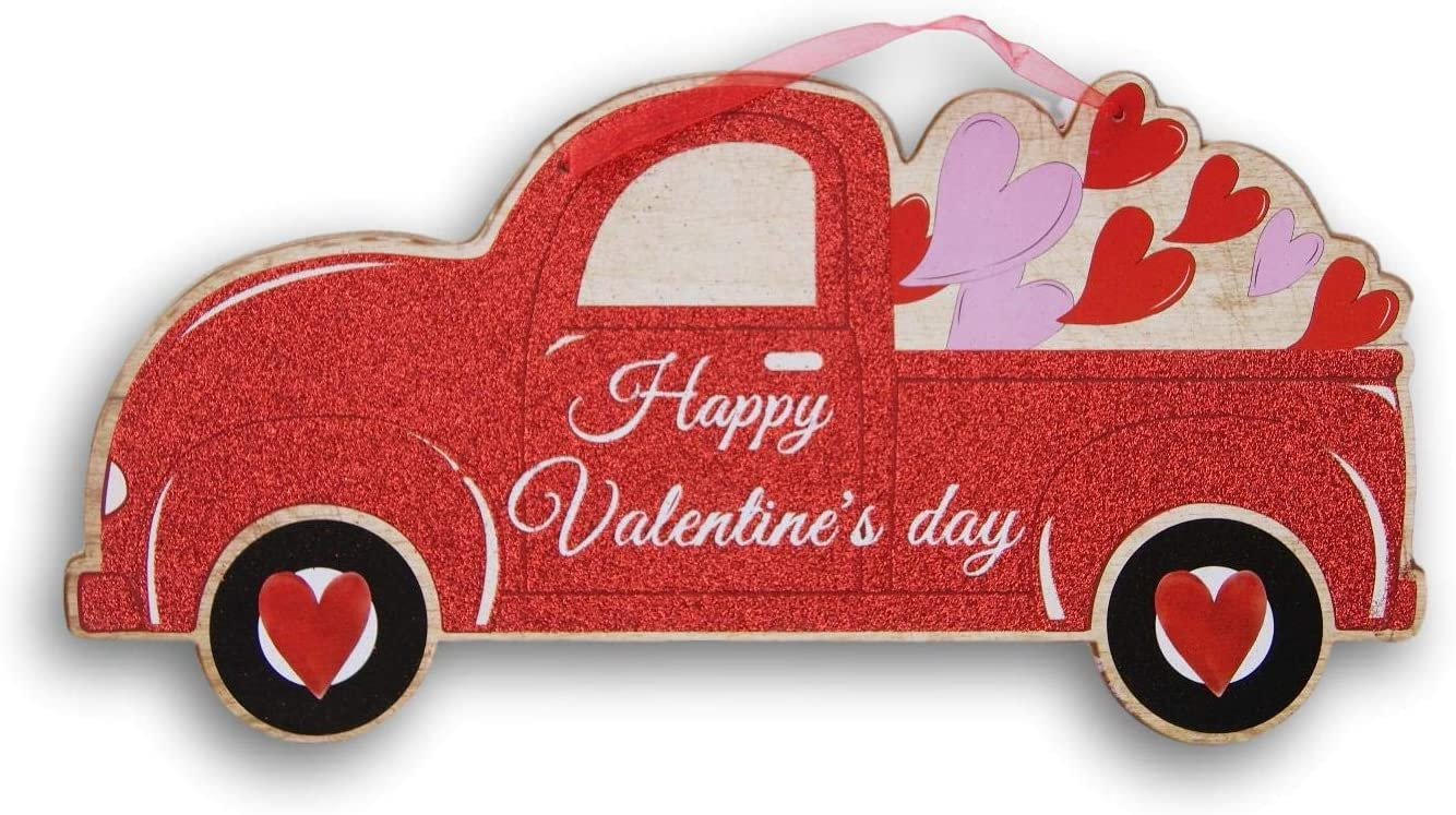 Happy Valentine's Day Truck Glittery Red Decor Sign with Ribbon Hanger - 15.5 x 8 Inches