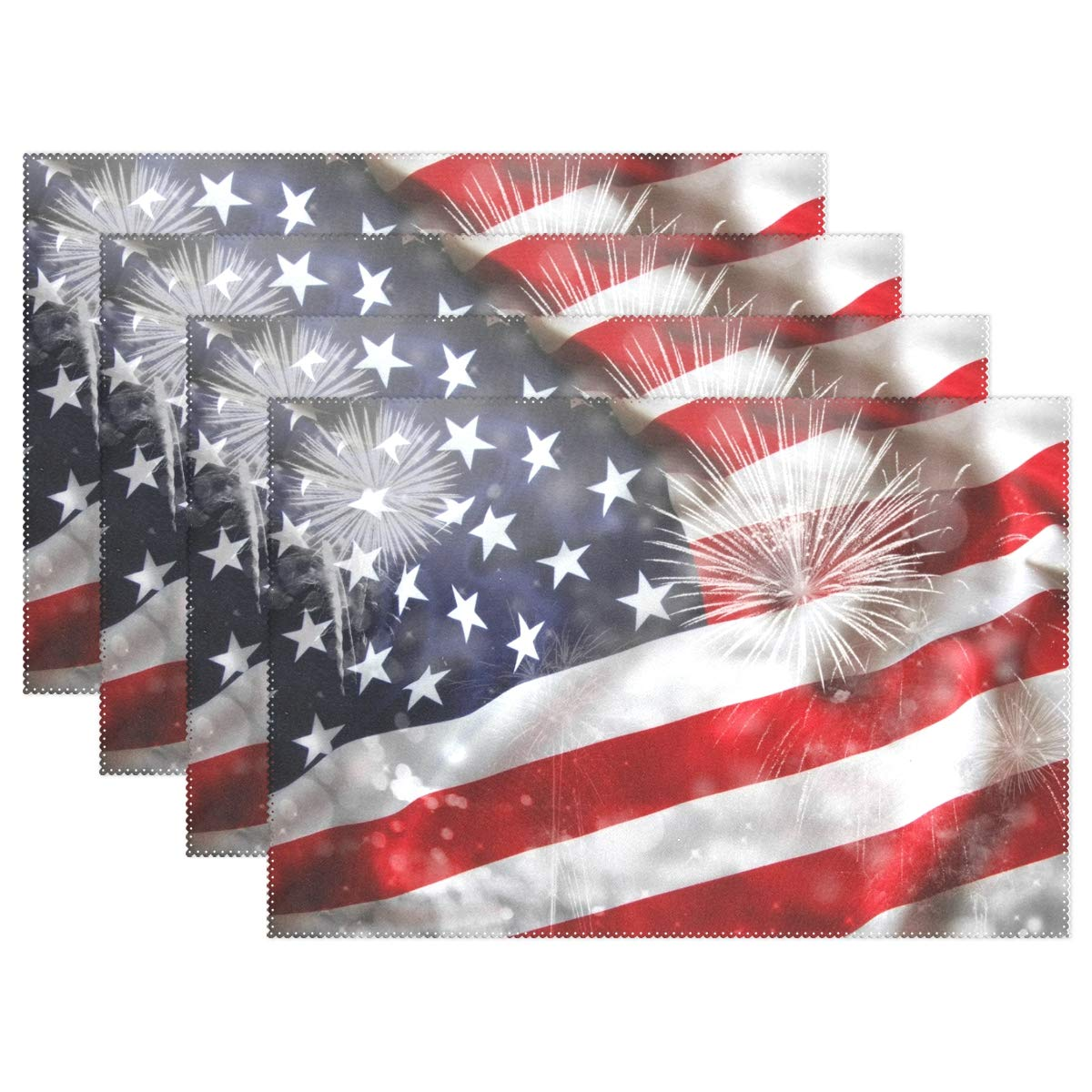 THENAHOME America Flag with Firework Independence Day Placemats Heat Stain Resistant Anti-Skid Table Mats for Kitchen Dining Table (12''x 18'')