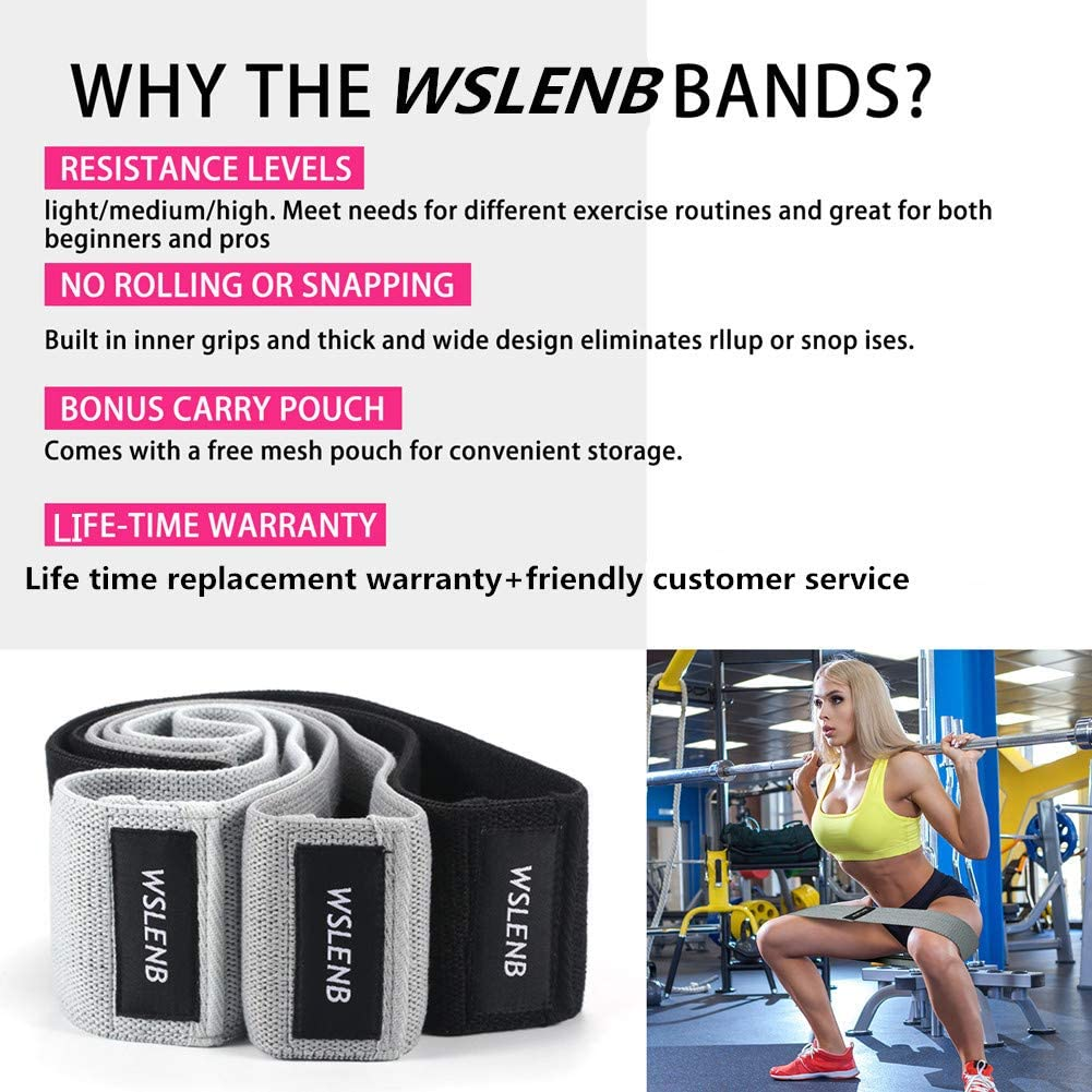 WSLENB Resistance Bands for Legs and Butt,Exercise Bands Resistance Workout  Bands,Set of 3 Fabric No Slip Hip Booty Loop Bands for Men Women Gym  Yoga,Activate Glute and Thigh: Amazon.co.uk: Sports & Outdoors
