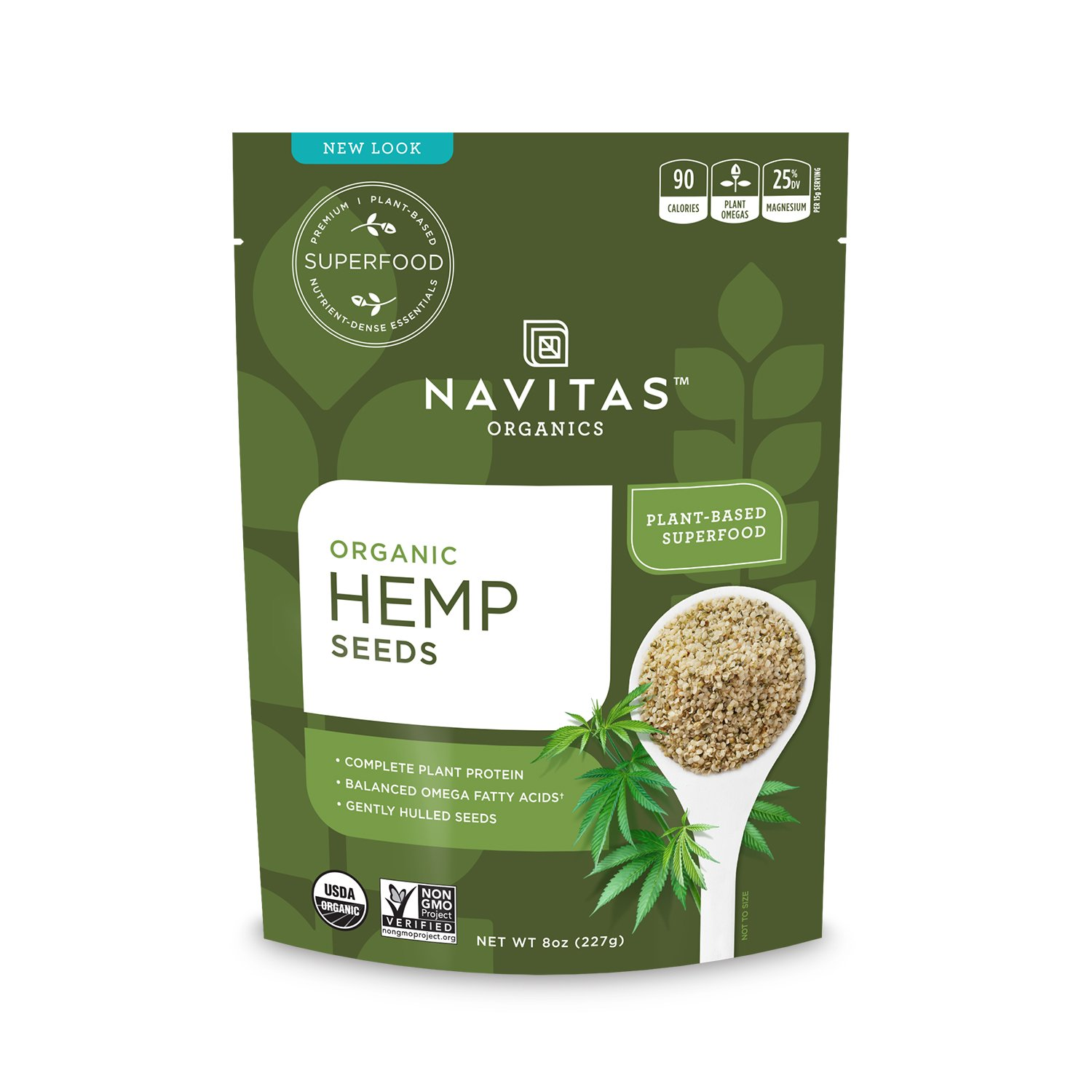 Navitas Organics Raw Hemp Seeds, 8oz. Pouch (Pack of 2)