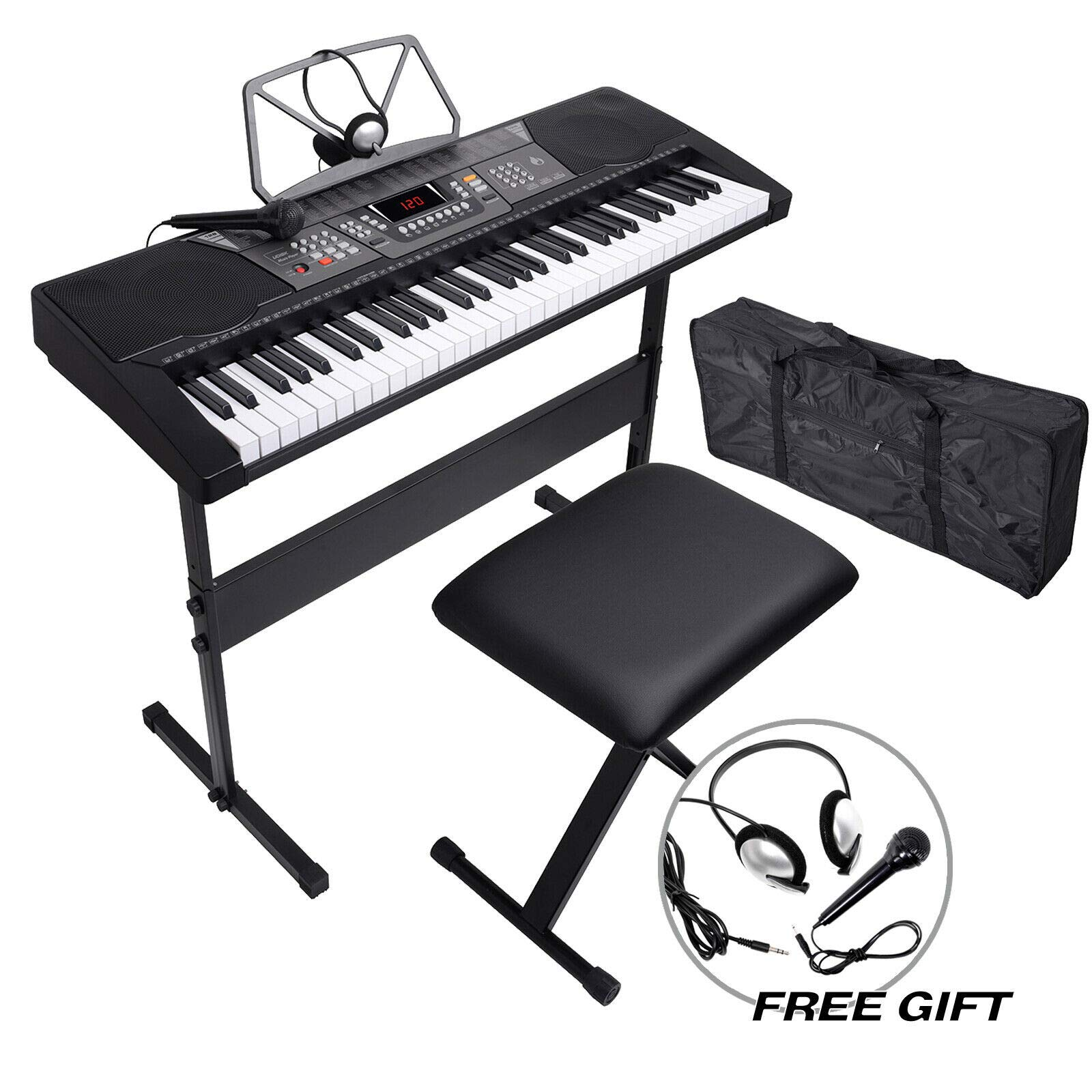 61 Key Electronic Keyboard Piano Organ w/Microphone Stand Stool Earphone Black Discount for Business Customers and B2B by Smart Choice America by SMART CHOICE AMERICA