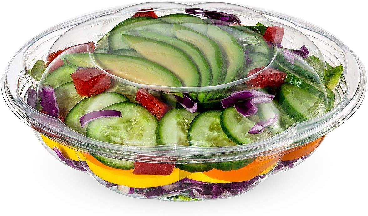[50 Sets] 18 oz. Plastic Salad Bowls To Go With Airtight Lids