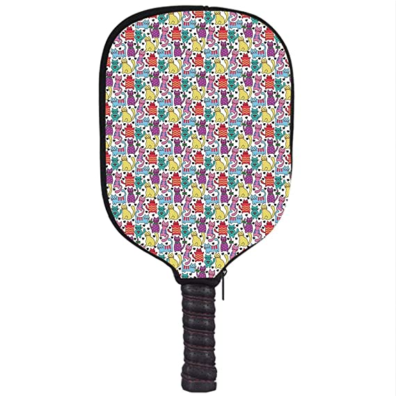 Amazon.com : Neoprene Pickleball Paddle Racket Cover Case, Cat, Cartoon Style Lively Colored Friendly Cheerful Characters with Hearts Happiness Love ...