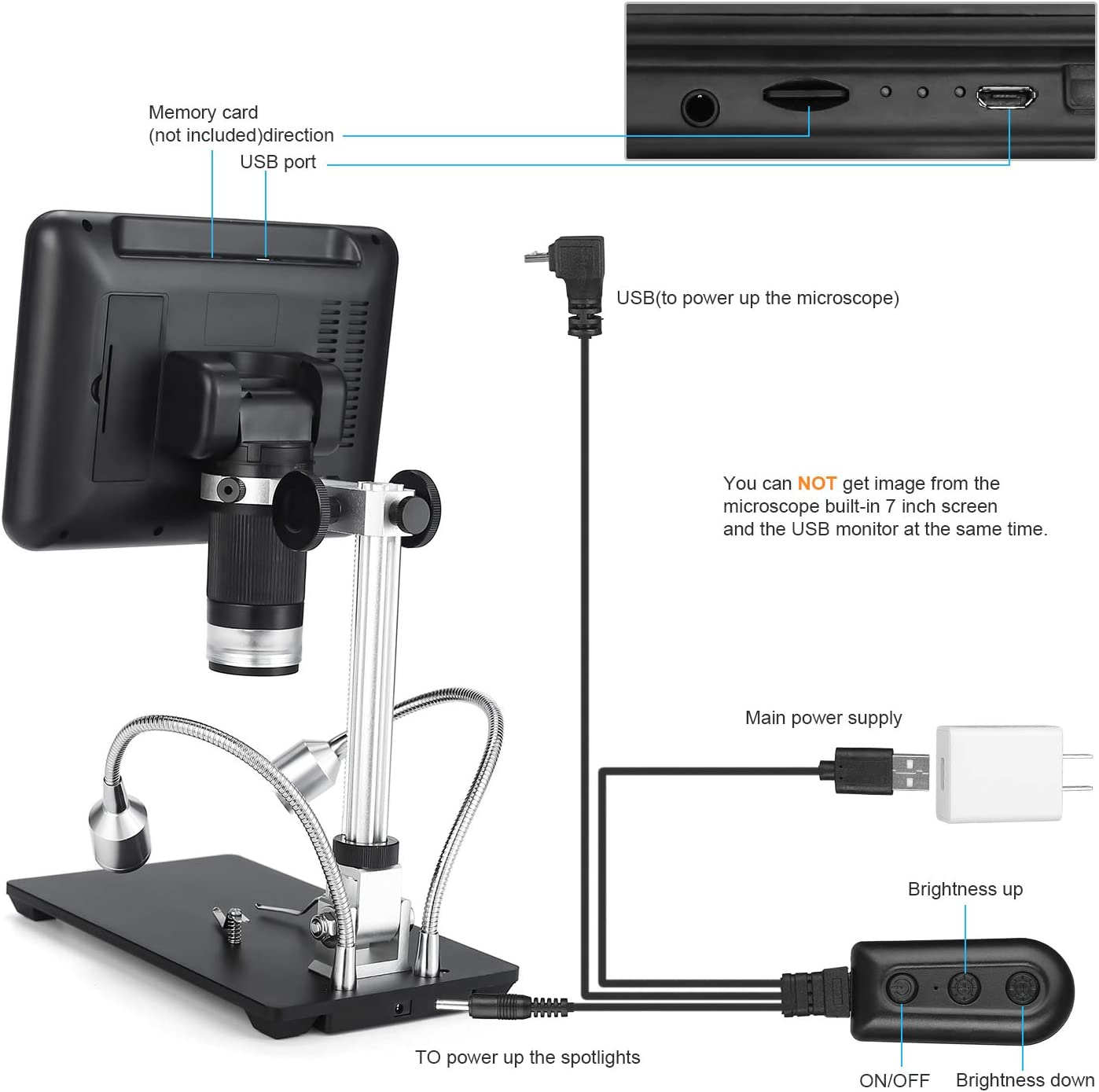 Andonstar Digital Microscope AD207 with 7 inch LCD Display and 3D Visual Effects for Circuit Board Repair