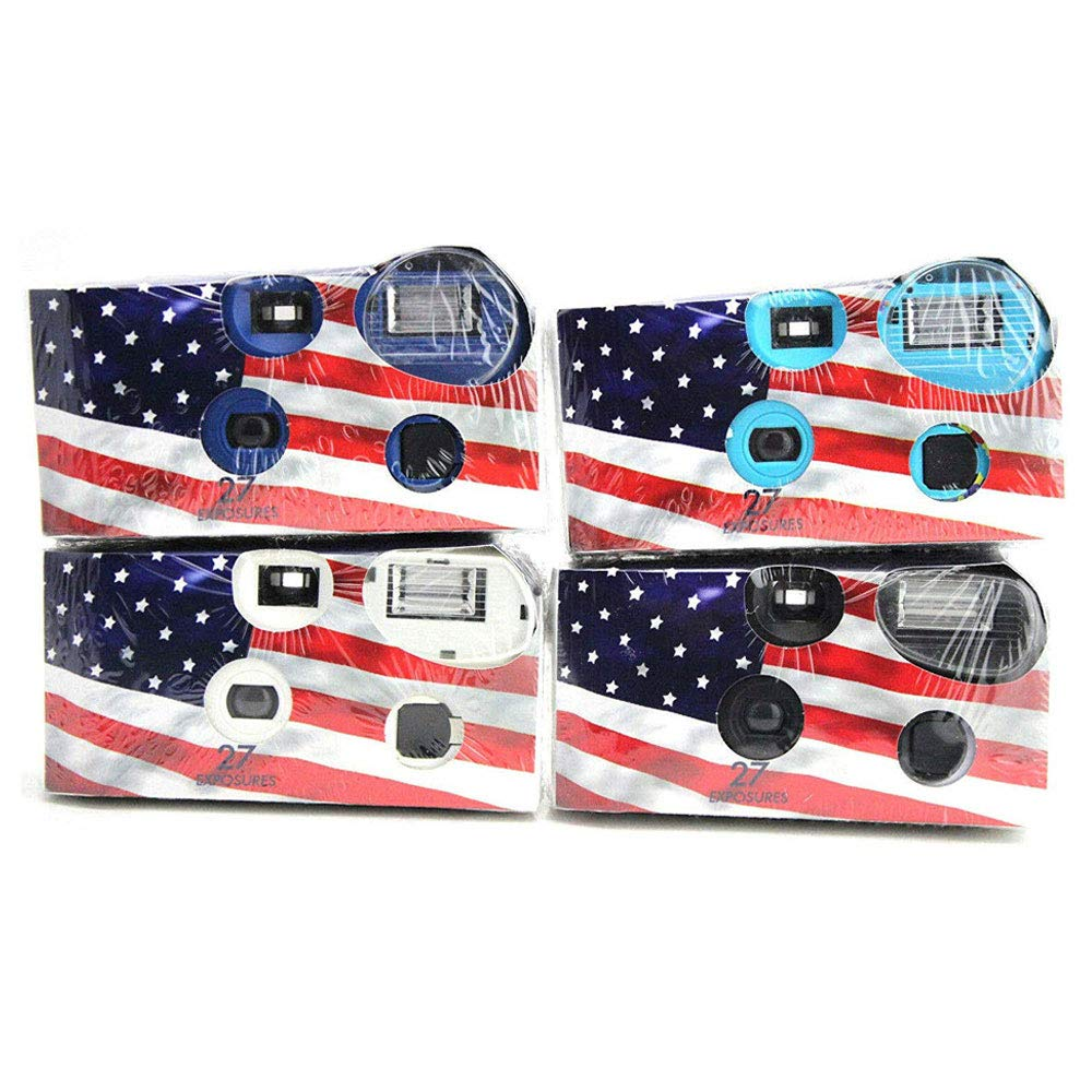 Disposable Cameras 35mm Film 24Exp + Flash Single Use USA American Flag (4-Pack)