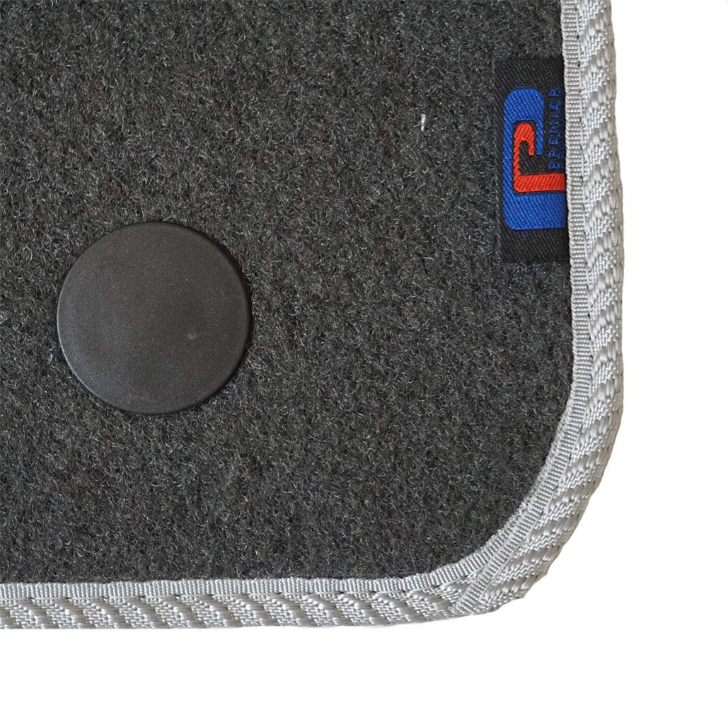 Fully Tailored Black Carpet Car Mats for Fiesta - 2 Round Fixing Premier Products 2011-2017