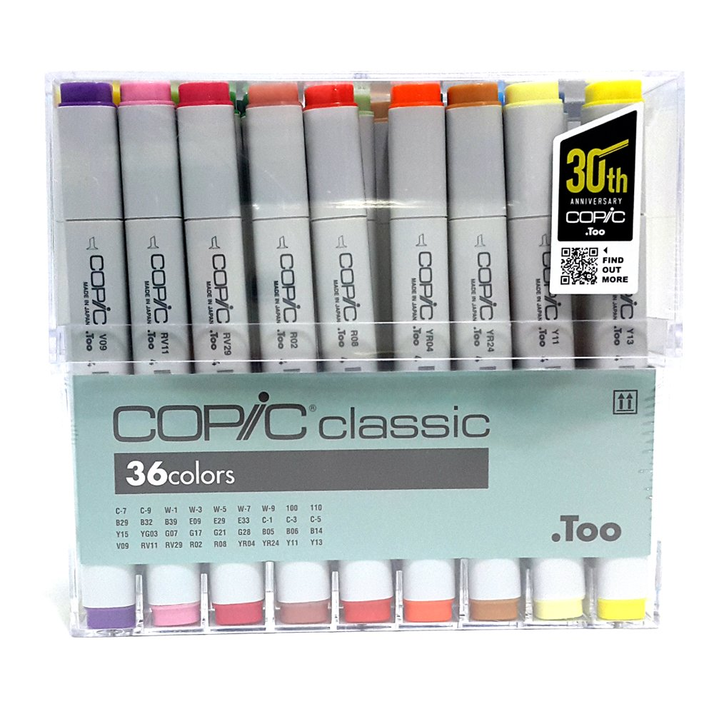 Copic Classic Markers 36-Piece Basic Set (=Twin Marker)