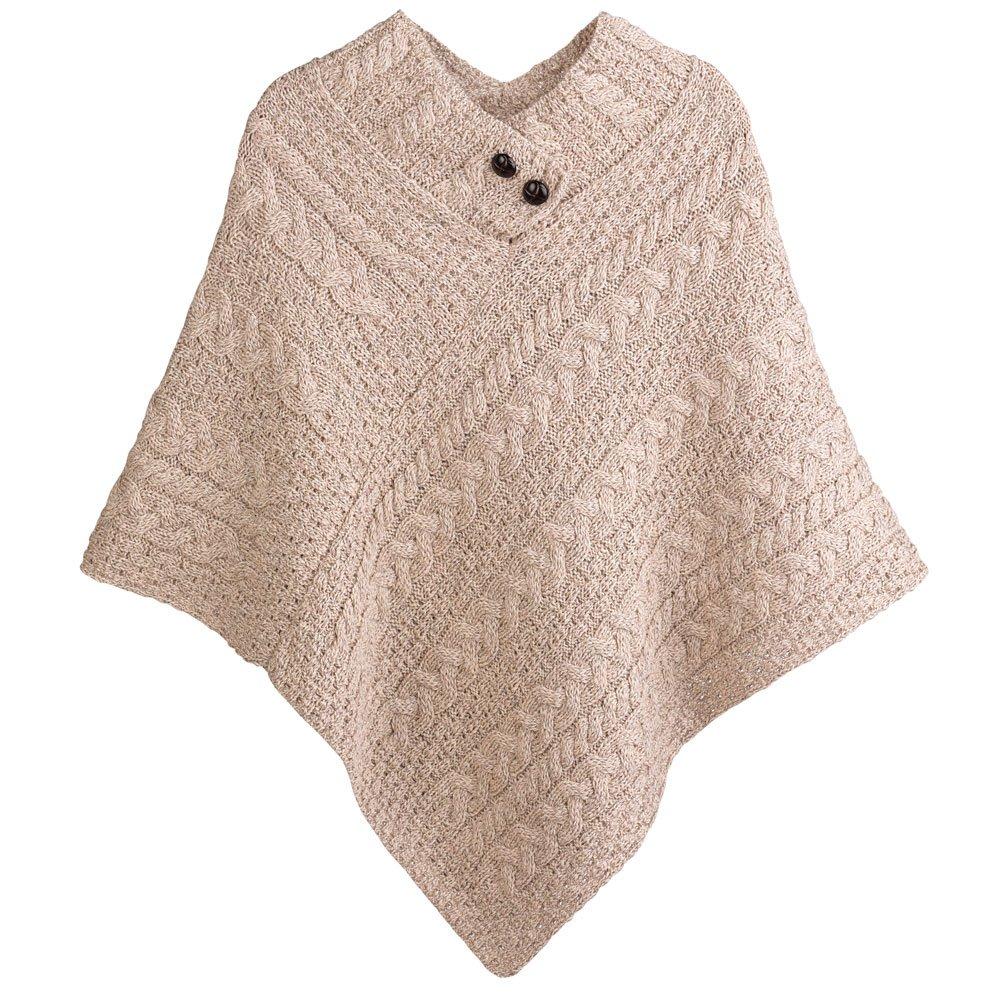 Women's Aran Island Poncho - 100% Merino Wool Cable Knit Sweater - Wicker by Aran Woollen Mills